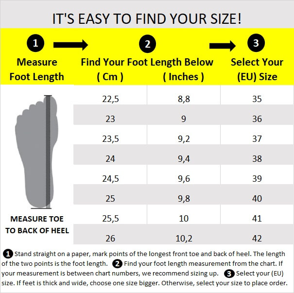 B - Shoe Size Chart 37x23.5 Cm English 22.5