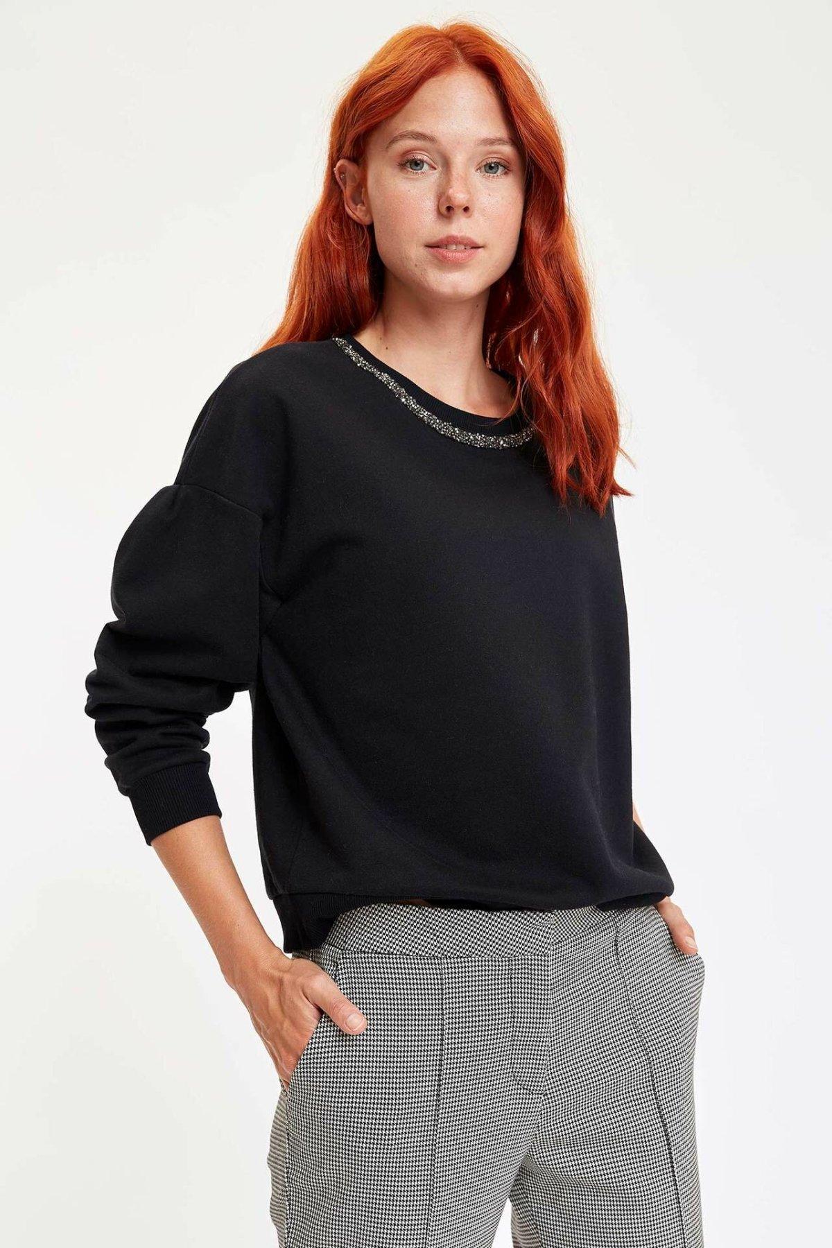 DeFacto Woman Fashion Black Women Sweat Shirt Autumn Long Sleeve Casual Hoodies Women Top Cloth-M3354AZ19WN
