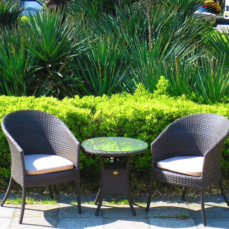 Set Of Wicker Furniture Technotoranga Balcony Wenge Color Of 2 Chairs And Coffee Table Complete With Cushions