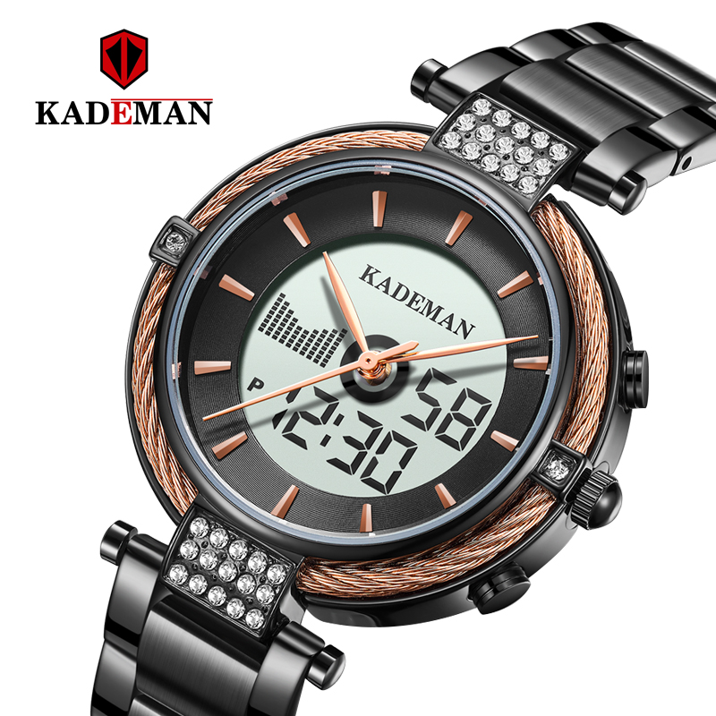 Kademan New Elegant Quartz And Digital Women Watch LCD Screen Luxury Business Style Fashion Waterproof K9080 Relogio Feminno