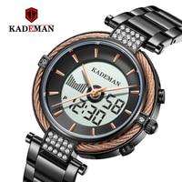Kademan 새로운 우아한 석영과 디지털 여성 시계 lcd 화면 럭셔리 비즈니스 스타일 패션 방수 k9080 relogio feminno-에서여성용 시계부터 시계 의