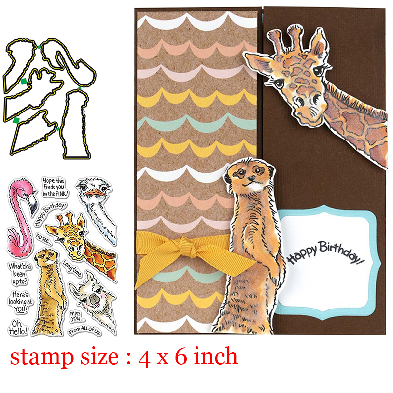 Animal Giraffe Flamingo Clear Stamps Coordinating Metal Cutting Dies For DIY Scrapbooking Craft Card Stempels New  Silicone Seal