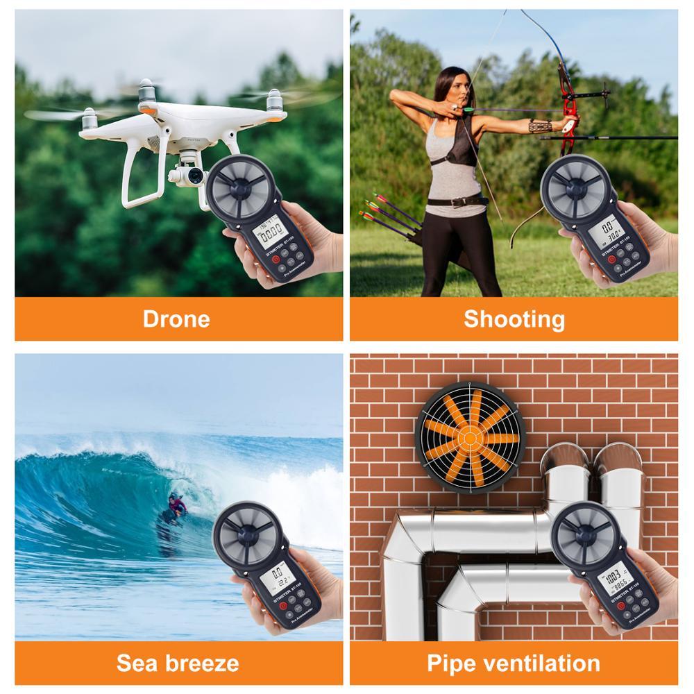 Anémomètre numérique De Compteur de Vitesse De Vent BT-100 pour Mesurer La Vitesse Du Vent, Température et Refroidissement Éolien avec Rétro-Éclairage LCD 5