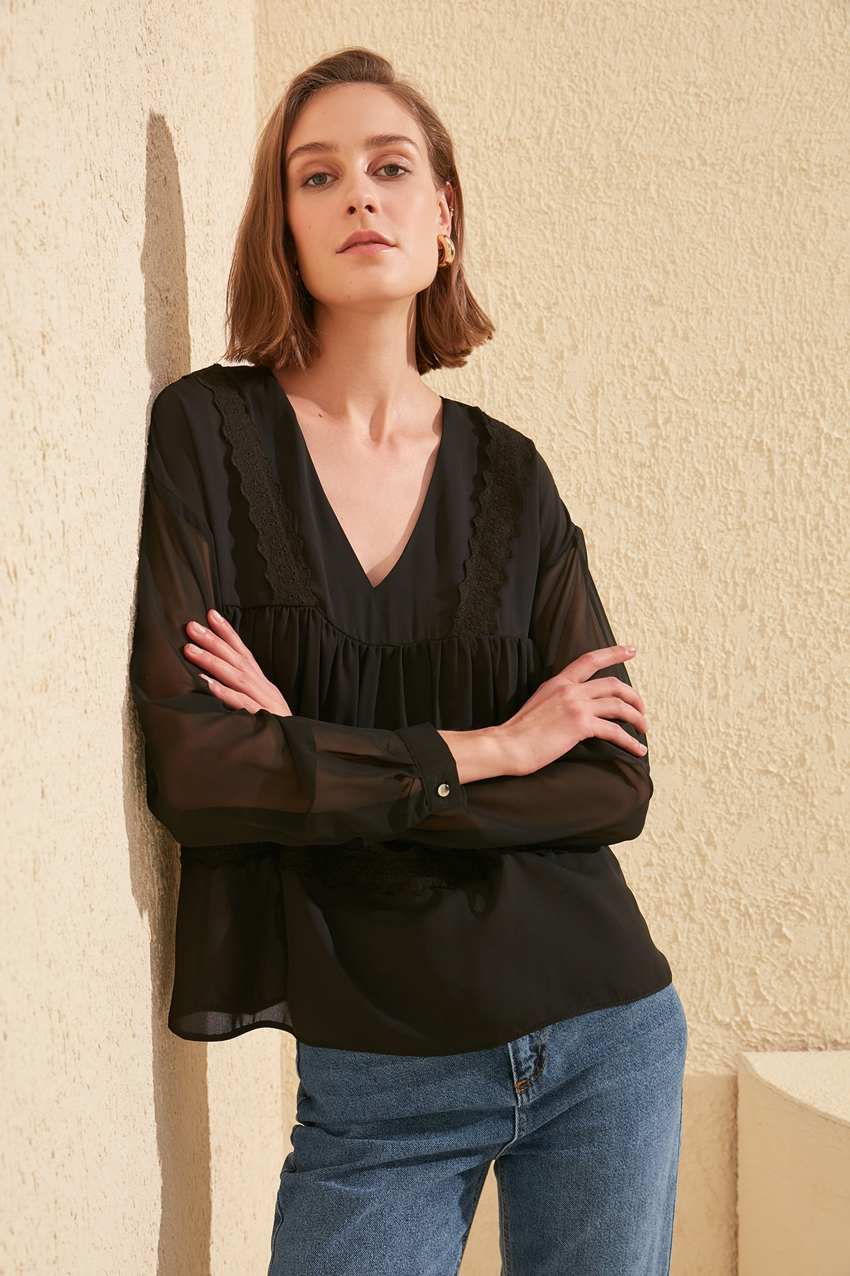 Trendyol Ruched Blouse TWOSS20BZ0237