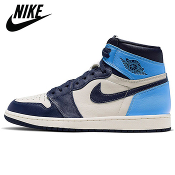 Authentic Original Nike Air Jordan Retro 1 Mid AJ1 Travis Scott Obsidian Luncky Green Men Shoes Women Basketball Sneakers