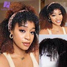 Ombre bandana peruca afro kinky encaracolado brasileiro remy cabelo humano cachecol perucas 200 densidade glueless com franja para preto luffywig