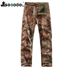 SOQOOOL Winter Shark Skin Soft Shell Tactical Military Camouflage Pants Men Windproof Waterproof Warm Camo Army Fleece Pants