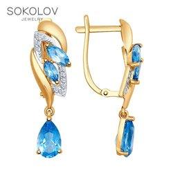 Drop Oorbellen Met Stenen Met Stenen Lange Sokolov Goud Met Topaz En Zirconia Mode-sieraden 585 Vrouwen Mannelijke