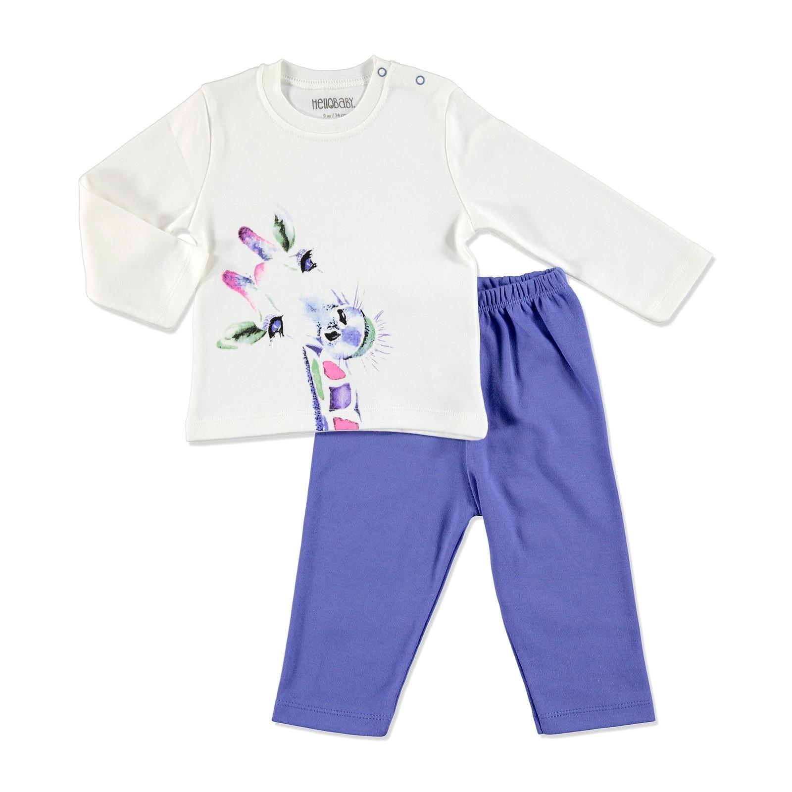 Ebebek HelloBaby Winter Baby Basic Printed Pyjama Set