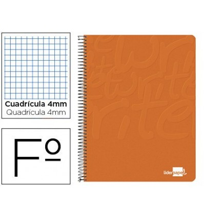 SPIRAL NOTEBOOK LIDERPAPEL FOLIO WRITE SOFTCOVER 80H 60GR TABLE 4MM WITH MARGIN COLOR ORANGE 10 Units