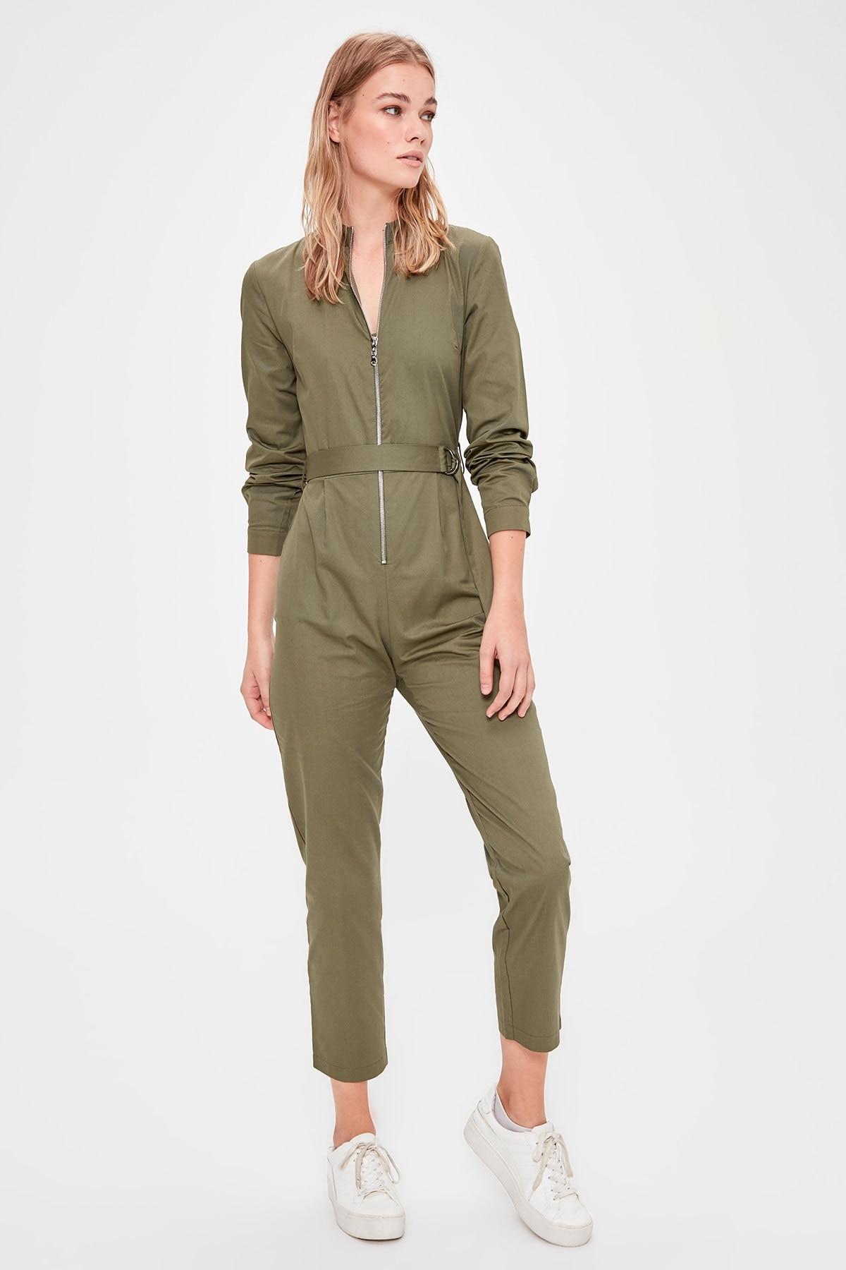 Trendyol Khaki Belted Jumpsuit TWOAW20TU0071