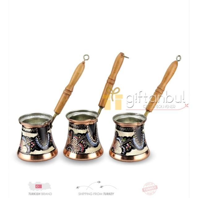 Fancy Ibrik Turkish Copper Coffee Pot Wood Handle  2