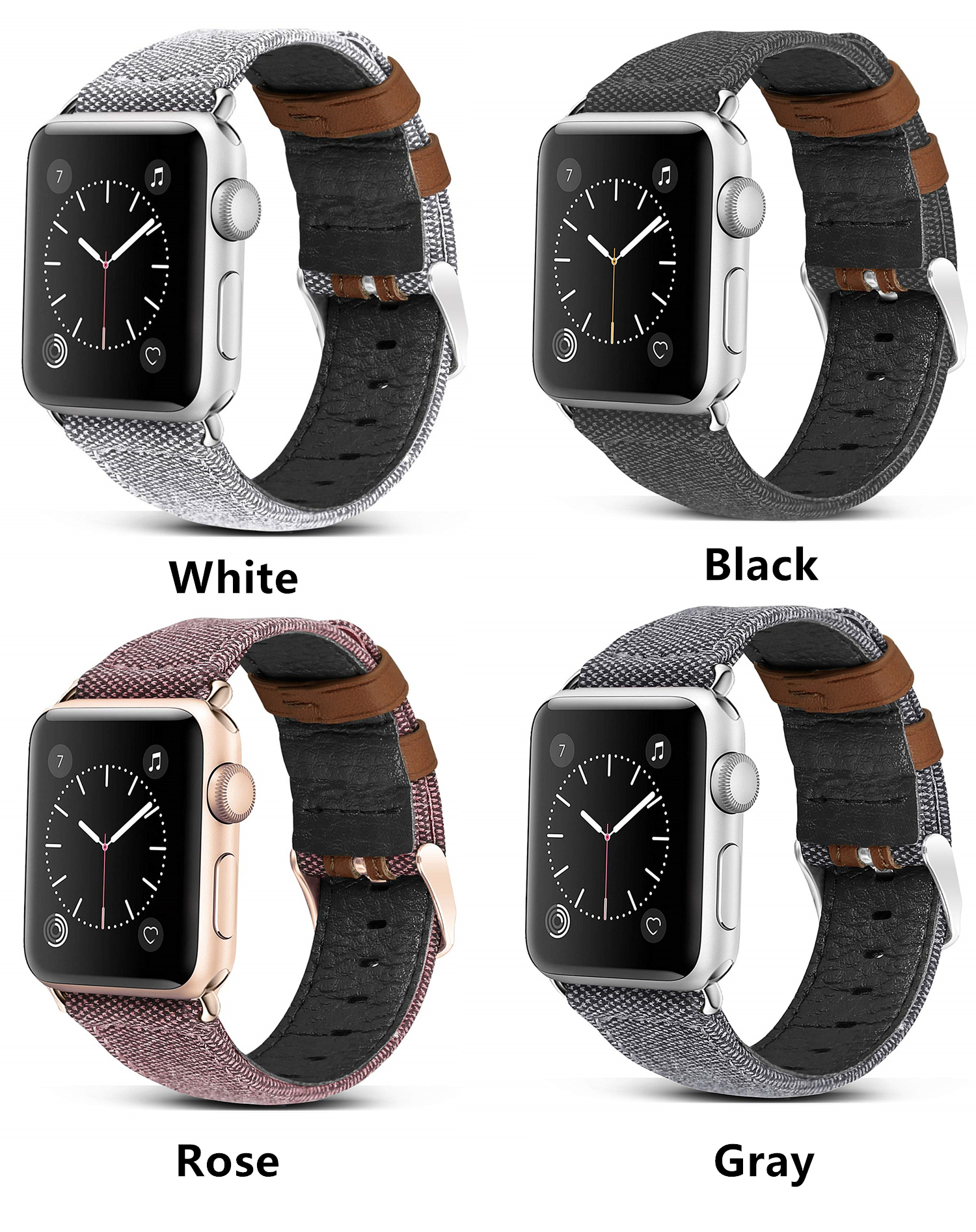 Canvas Leather Band for Apple Watch 21