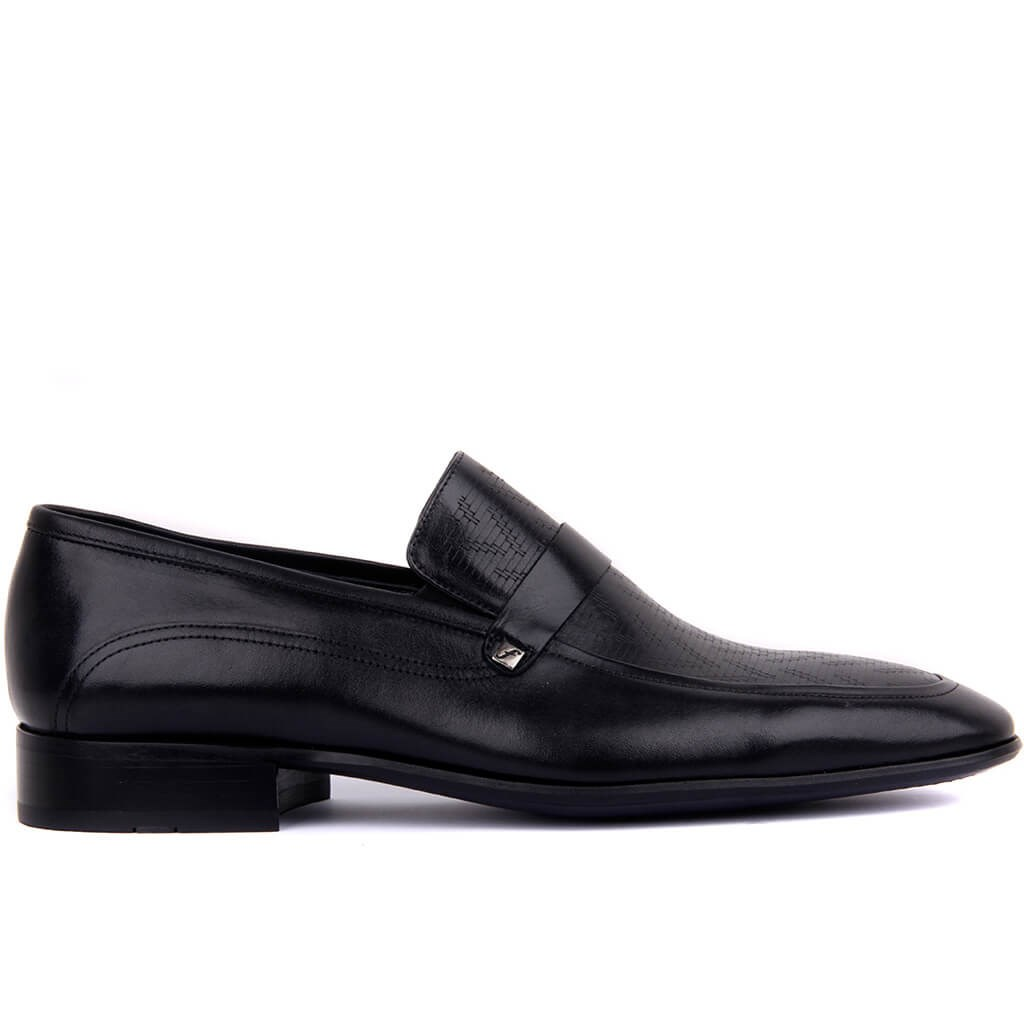Fosco-Black Leather Men 'S Classic Shoes
