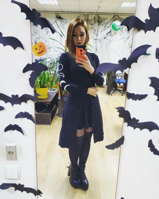 Moon Print Dresses Grunge Turtleneck Long Sleeve Mini Dress Fashion Design Bottom Split Black Darkness Streetwear Dress photo review