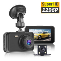 New Car DVR 1296P Super HD Dash Camera With Rearview Camera Hidden Dual Lens Driving Video Recorder 170 Degrees Auto Dashcam 3