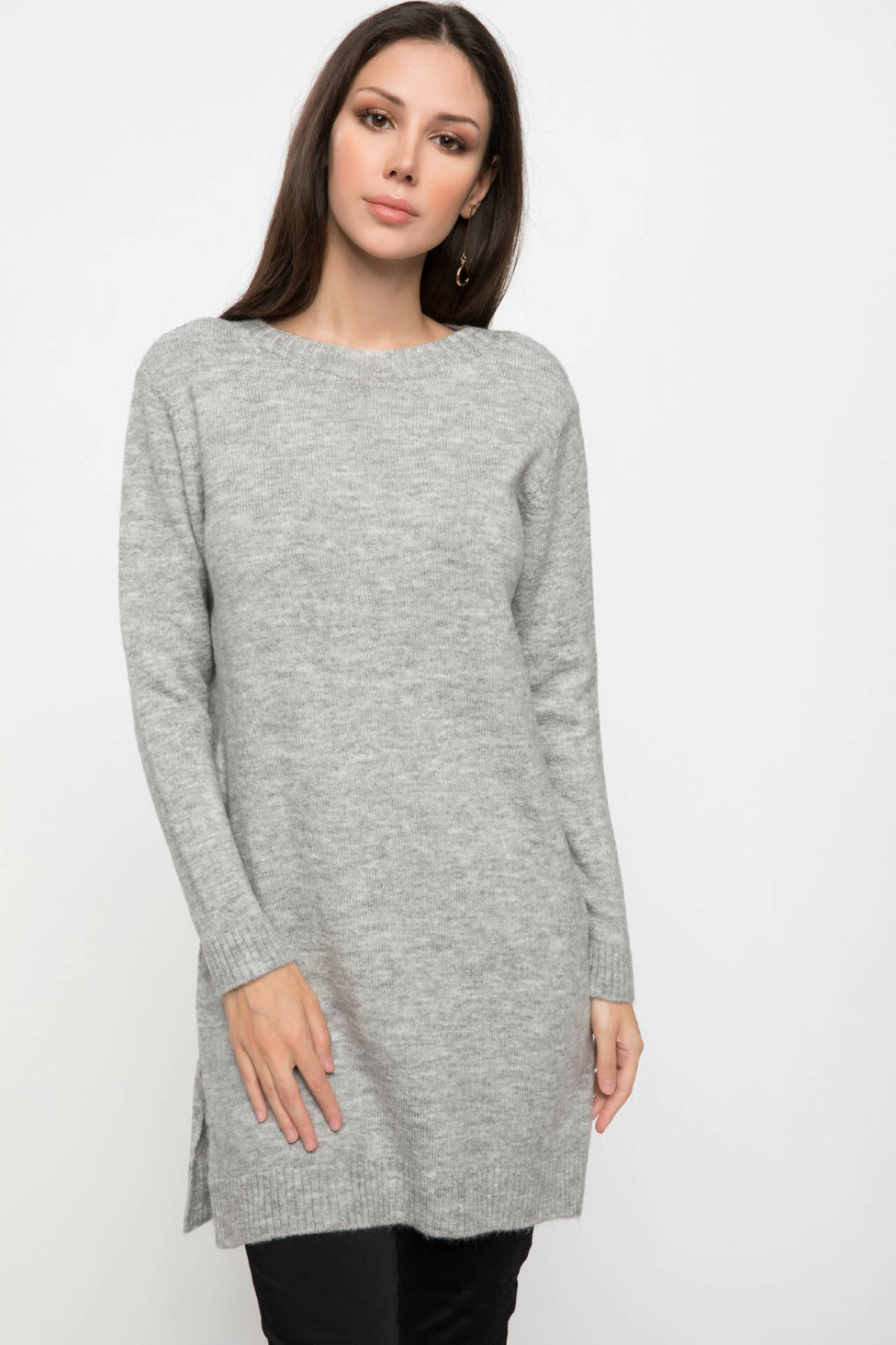 DeFacto Women Crew Solid Long Pullovers Leisure Grey Yellow Knitted Top Casual Joker Tops Women Simple Tops Cloth -J2912AZ18WN