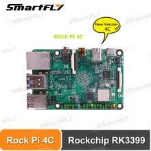 Rock pi 4c rockchip rk3399 4gb lpddr4 mali t860mp4 sbc/única placa computador apto com exibição oficial raspberry pi/android 10
