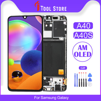100% OEM For Samsung Galaxy A40 A40S LCD Touch Screen Display AMOLED Digitizer Assembly Replacement Frame With Gift original amoled screen for samsung galaxy note 3 lte n9005 lcd display touch panel digitizer with bezel frame assembly
