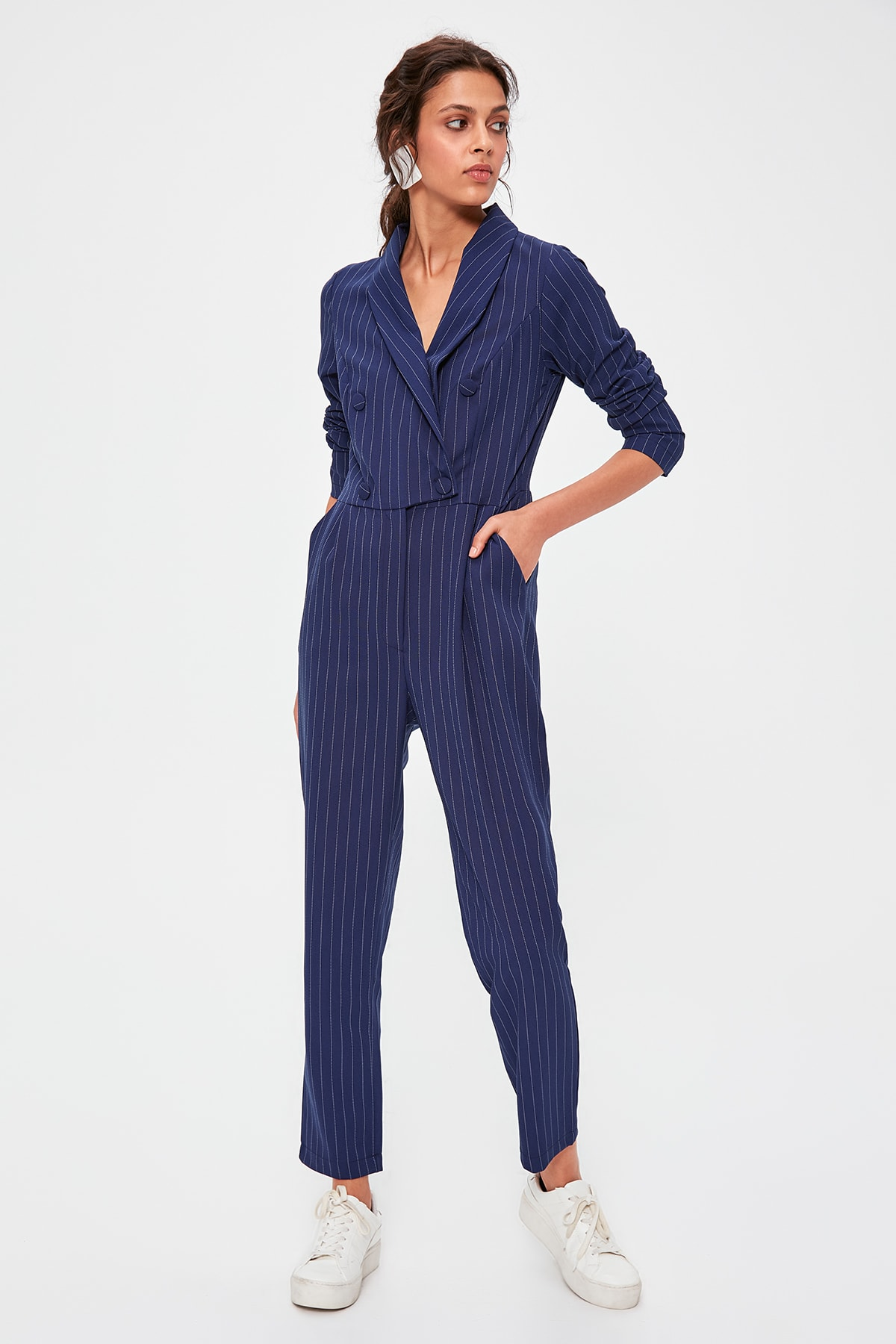 Trendyol Navy Blue Striped Jumpsuit TWOAW20TU0022