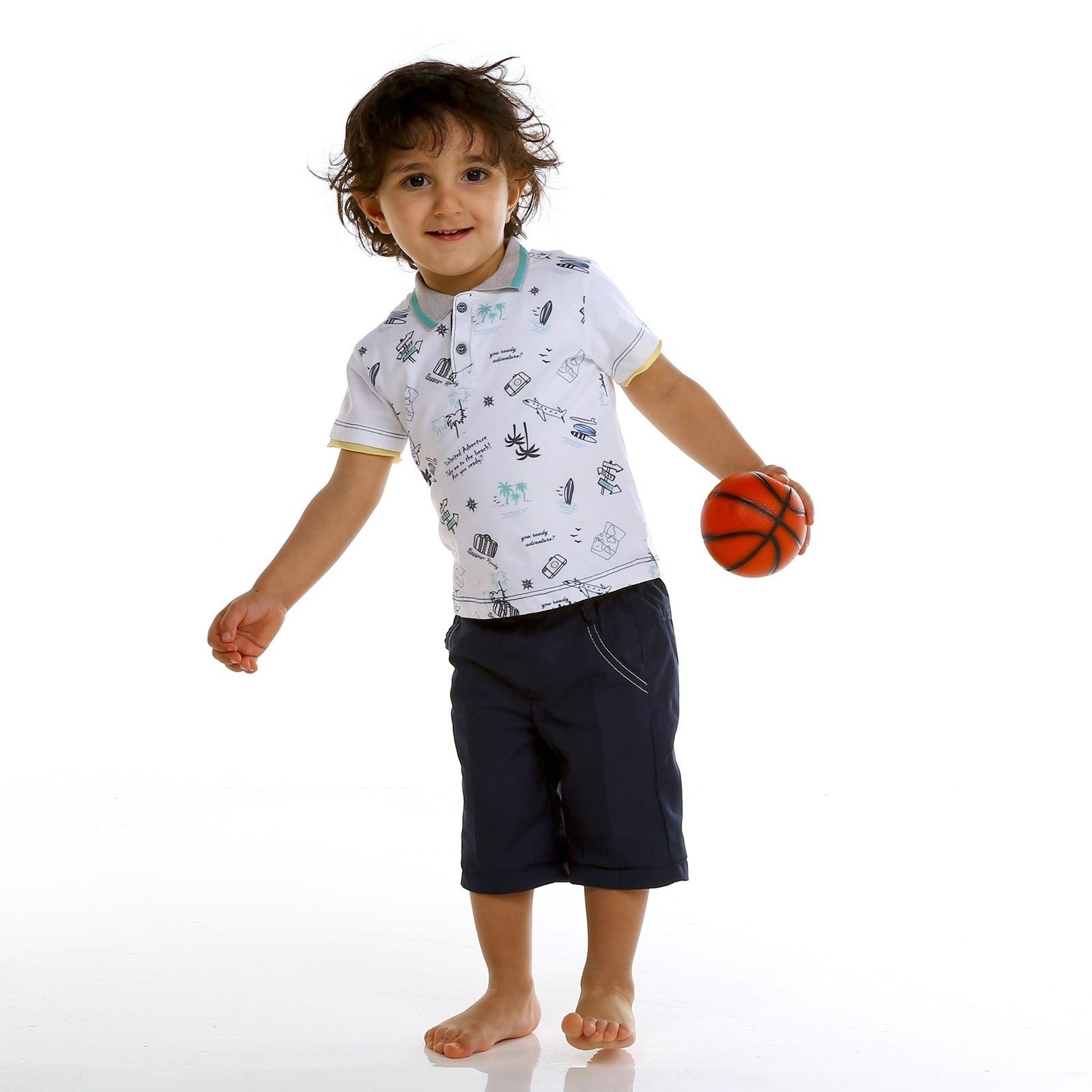 Ebebek Bombili Baby Boy Polo Neck Tshirt Texture Short
