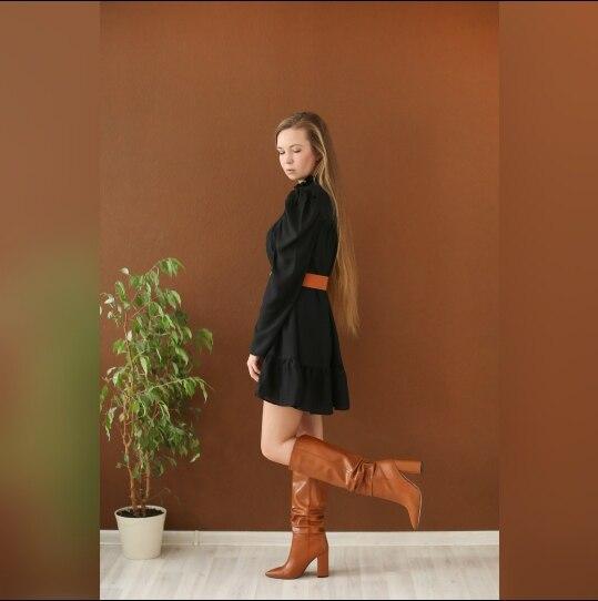 Hot 2019 autumn new fashion women's temperament commuter puff sleeve small high collar natural A word knee Chiffon dress reviews №2 342859