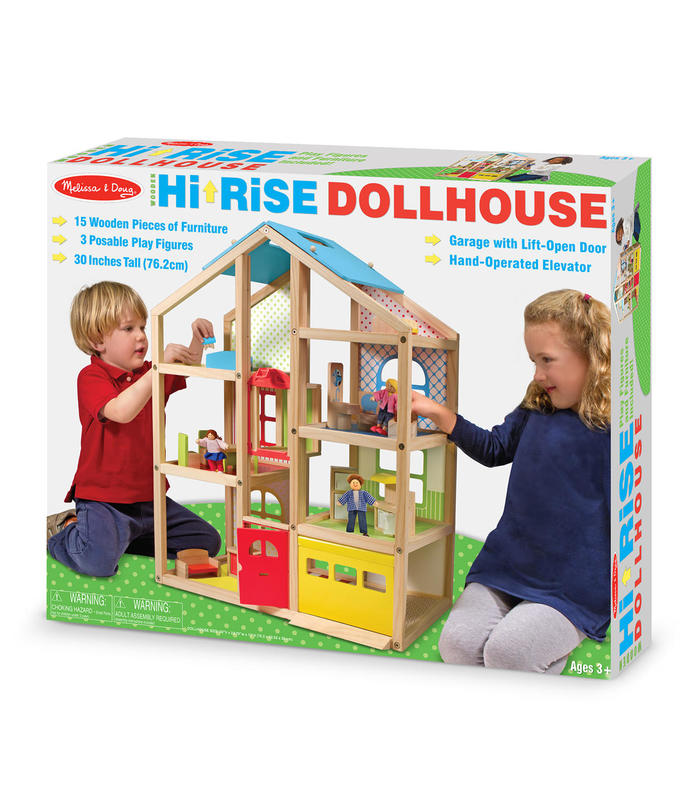 Wooden Hi Rise DollHouse M & D Toy Store Melissa & Doug