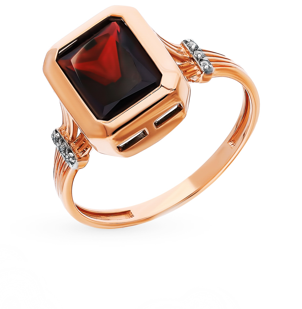 Gold Ring With Garnet Sunlight Sample 585