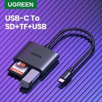 UGREEN-lector de tarjetas tipo C a USB SD, microSD, lector de tarjetas TF para iPad, Accesorios para ordenador portátil, Adaptador de Tarjeta de Memoria, lector de tarjetas de USB-C