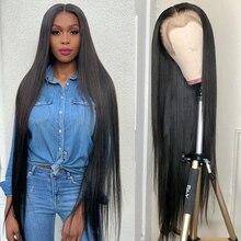 С прямыми Синтетические волосы на кружеве парик 30 32 40 дюймов парики из натуральных волос для черный Для женщин 13x4 Синтетические волосы на кр...