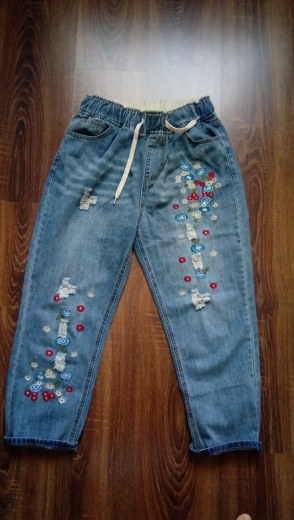 Plus Size 3Xl Floral Embroidery Boyfriend Ripped Jeans For Women Harem Pants Lace Up Drawstring Denim Jeans Vaqueros Mujer photo review