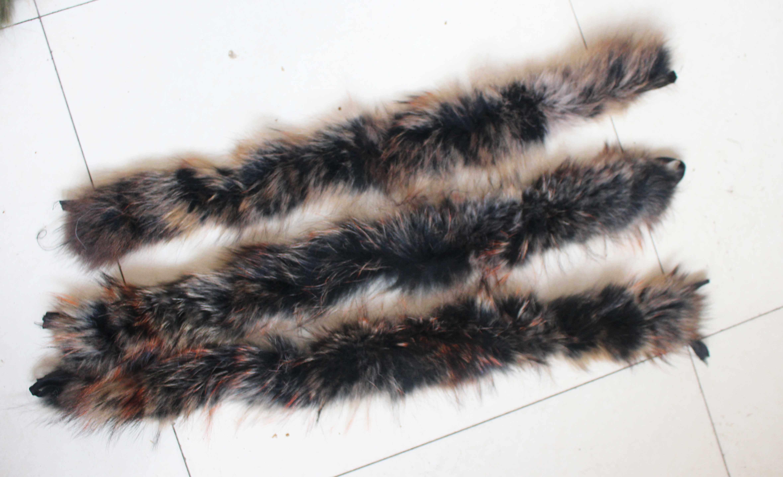 Linhaoshengyue70cm Vera pelliccia di procione pelliccia dei bambini cappuccio del collare del collare di Alta Qualità di pelliccia di Procione Cappotto di modo del collare collare cappuccio
