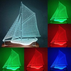 N-027 Boat-3D USB led Eco-friendly lamp night light, hand, table night light, home decor,