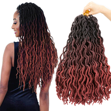 Braiding-Hair Crochet-Extension Synthetic-Hair Locs Faux-Nu Goddess Curl Blonde Wand