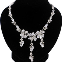 60x22mm Deluxe 21.g White Sapphire White CZ Wedding Womana's Silver Necklace 19 20inch