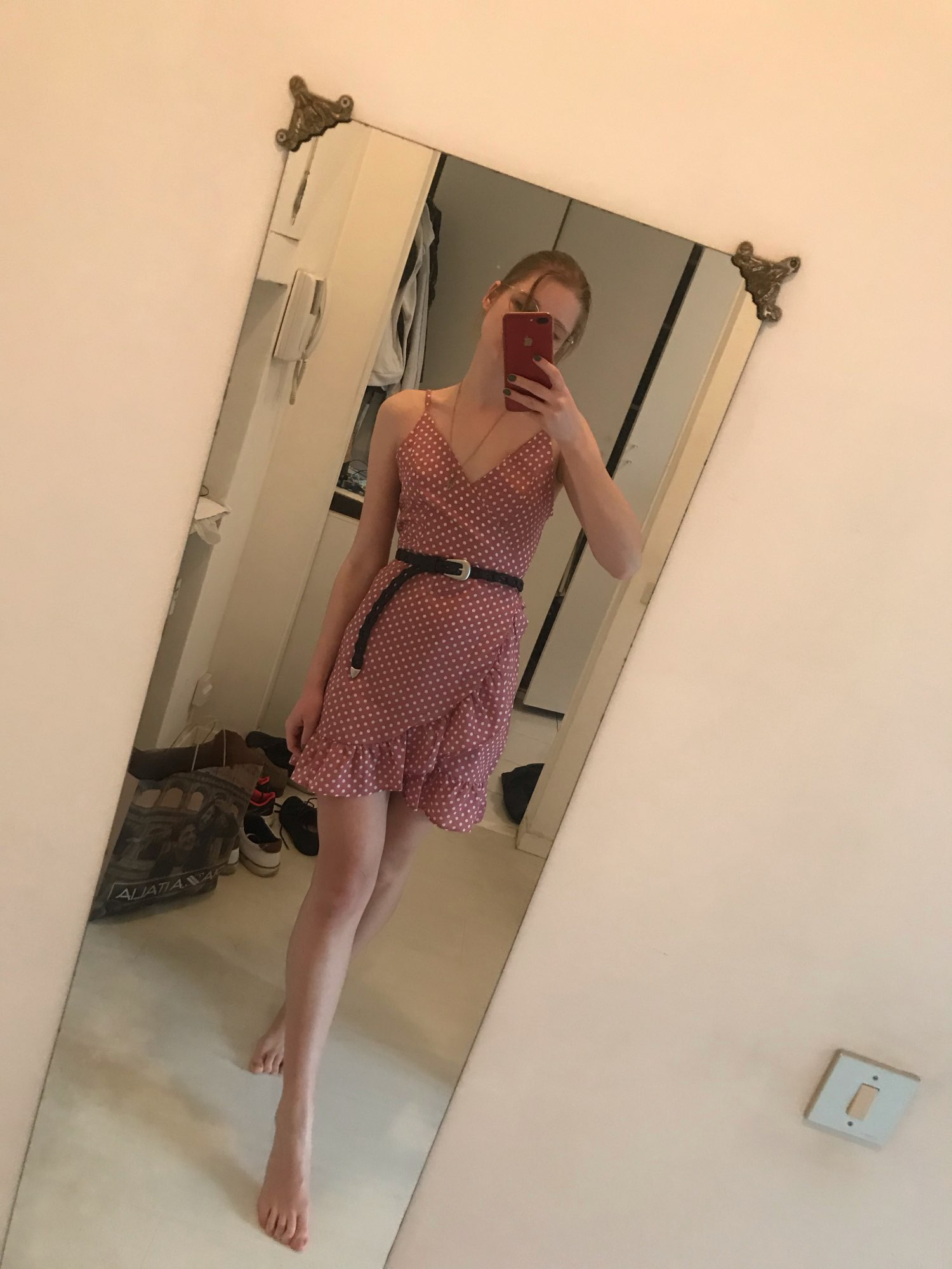 ALPHALMODA 2018 Summer Women Ruffled V collar Sleeveless Sling Dress Popular Polka Dot Prints Irregular Ruffled Holiday Vestidos Dresses    - AliExpress