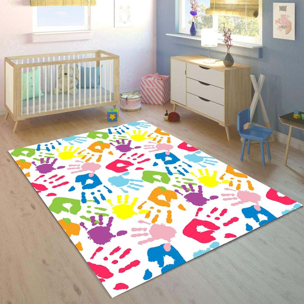 Else Blue Red Yellow Green Paint Colored Hand 3d Print Non Slip Microfiber Children Kids Room Decorative Area Rug Mat