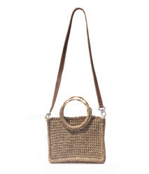 Kavshak Straw Wicker Knitted Synthetic Leather Hanging Stylish Box Women Handbag Beige