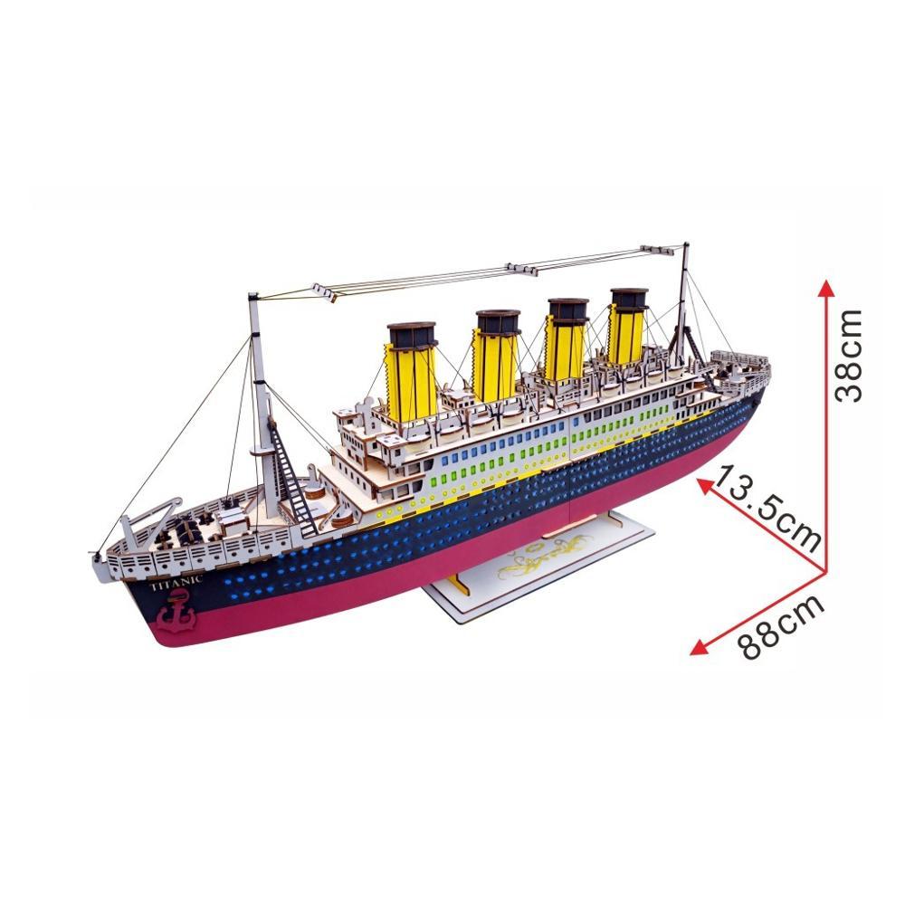 DIY dreidimensionale jigsaw puzzle junge DIY handgemachte spielzeug holz puzzle Titanic farbe box 3D modell