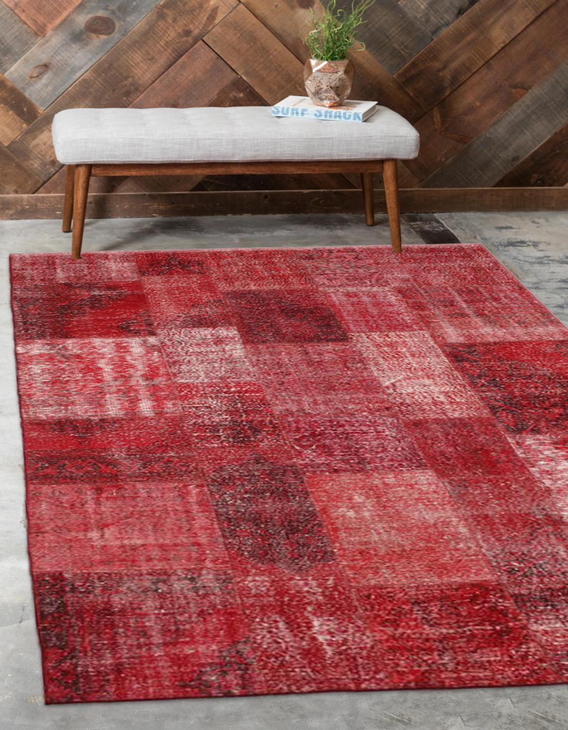 Else Red Anatolian Patchwork Rug Turkish Handmade Organic Area Rug Decorative Home Decor Wool Patchwork Rug Carpet