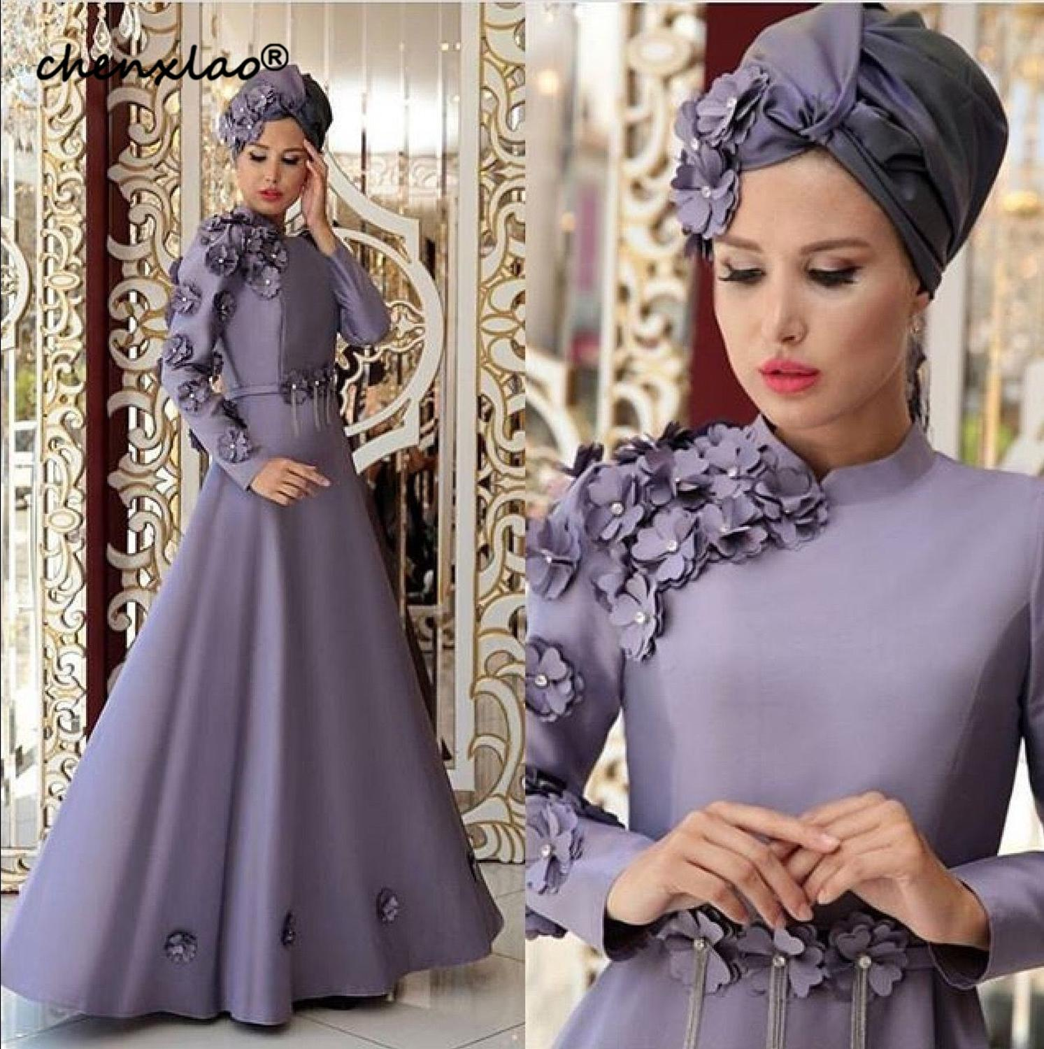 Muslim Style Evening Dress High Collar Full Sleeves 3D Flower Satin A Line Long Evening Dresses Formal Party Gowns robe de soire - 3