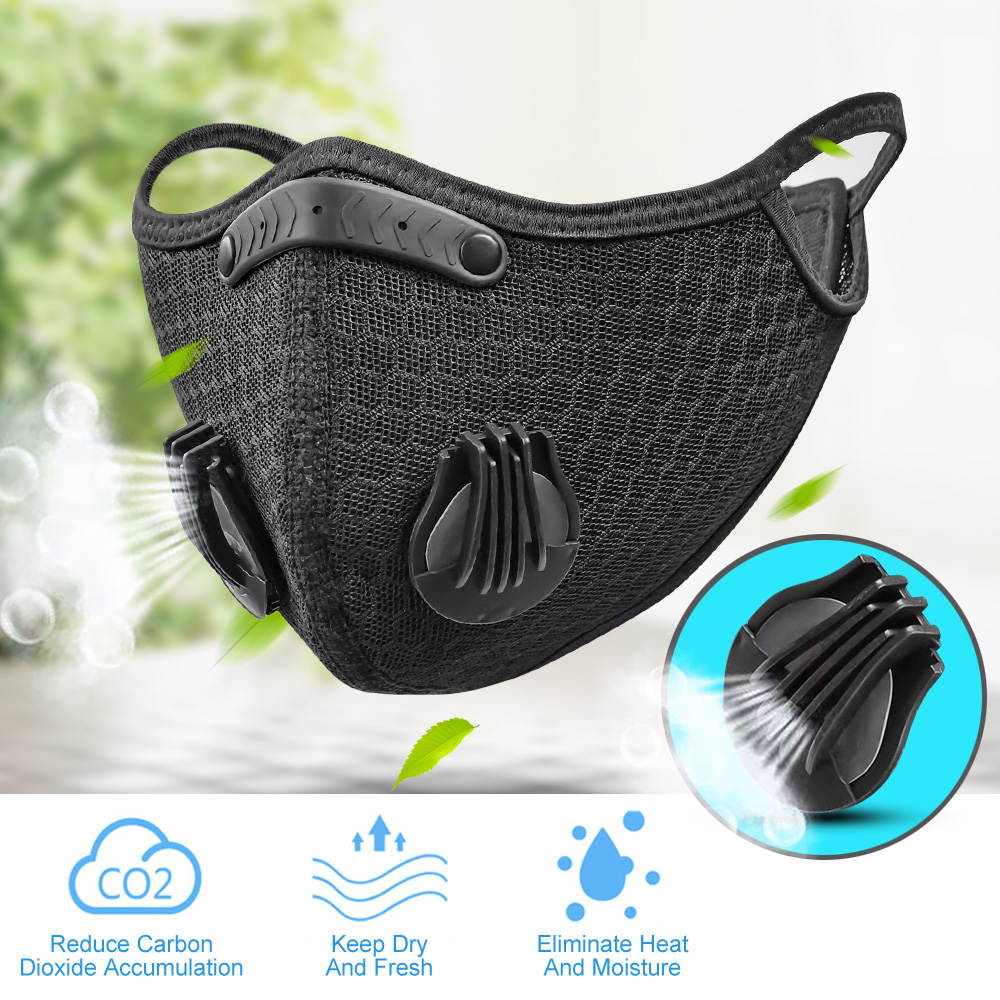 Sports Mask Reusable Mask Protective Mask Dust-proof PM 2.5 Washable Activated With Filter Carbon Mask Unisex Riding Mask