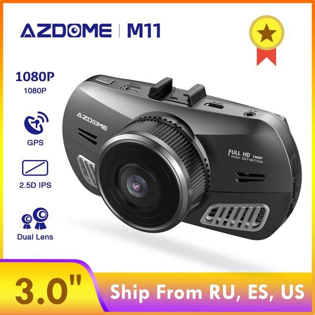 Cámara de salpicadero AZDOME M11 DVR 24H Monitor de aparcamiento cámara de coche Mini Dashcam doble lente visión nocturna soporte GPS 1080P Original