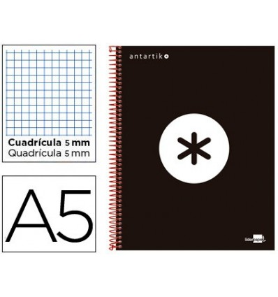 SPIRAL NOTEBOOK LEADERPAPER A5 MICRO ANTARTIK LINED TOP 120H 100 GR CUADRO5MM 5 BANDS 6 DRILLS COLOR BLACK