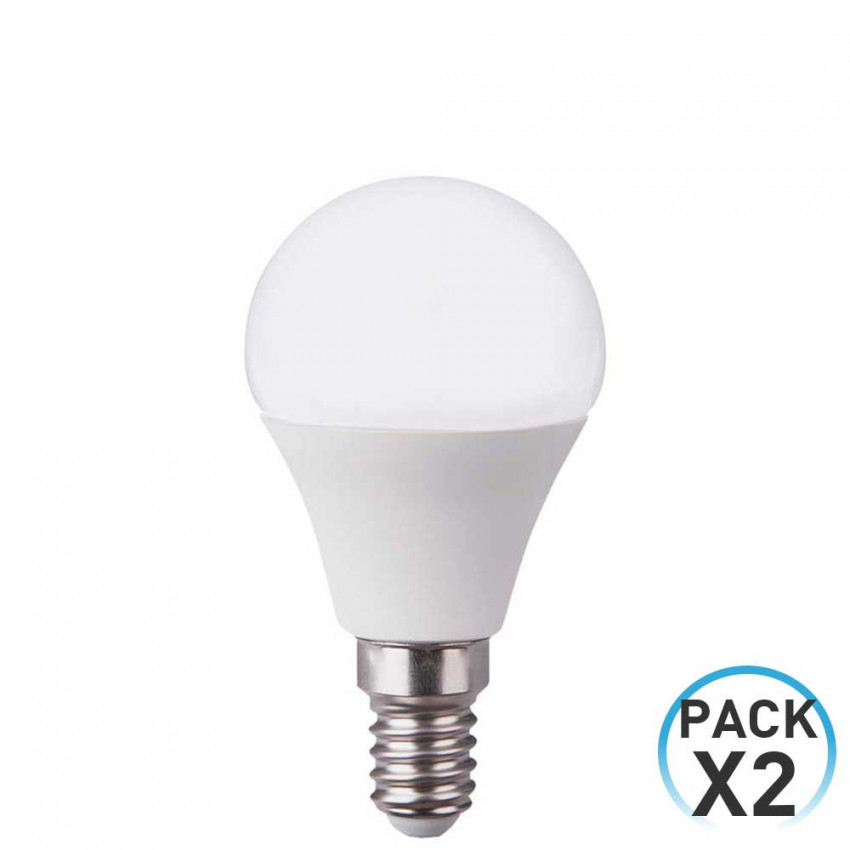 Pack 2 LED Bulbs Spherical E14 6W Equi.40W 470lm 10000H ECO 1Primer Low Cost