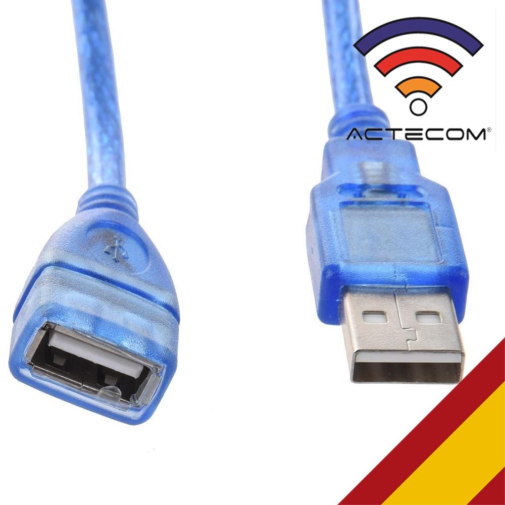 ACTECOM Cable Alargador Extension USB 2.0 Tipo A Hembra A Macho AF-AM 25cm Azul