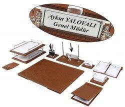Juego de escritorio de cuero de lujo Zenia, juego de almohadillas de escritorio con placa de identificación, bandeja doble, organizador de escritorio, accesorios de oficina, accesorios de escritorio