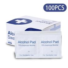 Alcohol Pads Disposable Prep 75% Disinfectant Cotton Slices Individually Wrapped wipes 100 Pcs