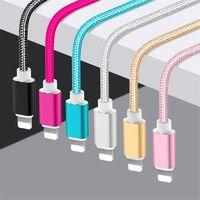 Cable de carga USB de nailon trenzado, carga rápida, Conector de aluminio Extra largo, sin enredos, para IPhone, IPad, iPod Touch