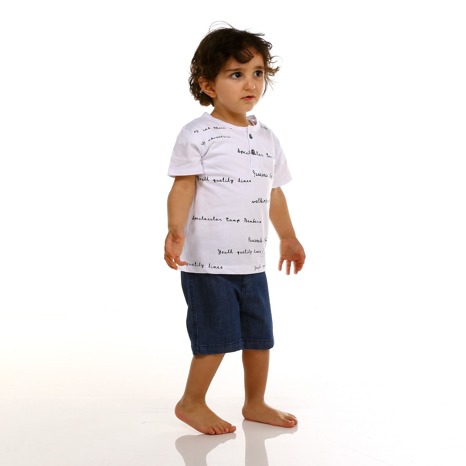 Ebebek Tuffy Baby Boy Crew Neck Button Detailed Tshirt